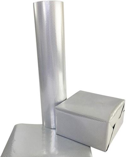 Apparaatrol zilver met stippen 100mx50cm-2
