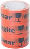 Waarschuwingstape Budget breekbaar 50mmx66m oranje/zwart