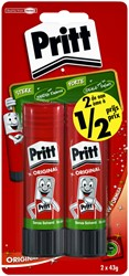 Lijmstift Pritt 43gr 2e halve prijs blister à 2 stuks