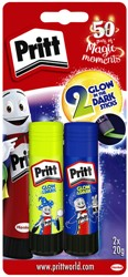 Lijmstift Pritt 20gr glow in the dark blister à 2 stuks