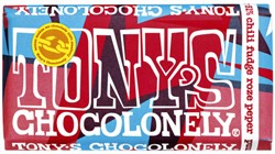 Chocolade Tony's Chocolonely reep 180gr puur chili fudge roze peper
