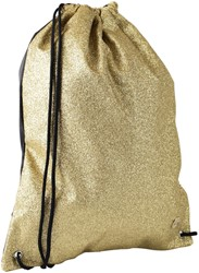 Gymtas QC Sparkle met ritszak 43cm glitter goud