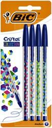 Balpen Bic Cristal assorti medium Fun Collection blister à 4 stuks
