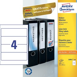 Rugetiket Avery breed 59x192mm zelfklevend wit