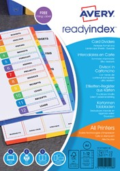 Tabbladen Avery Readyindex 9-gaats 12-delig 1-12 assorti
