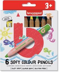 Kleurpotloden Bruynzeel Kids dik wasco blister à 6 stuks assorti