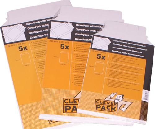 Envelop CleverPack B4 250x353Mm karton wit 5stuks