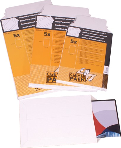 Envelop CleverPack B4 250x353Mm karton wit 5stuks-3