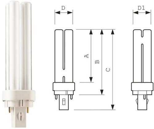 Spaarlamp Philips Master PL-C 2P 10W 600 Lumen 830 warm wit-3