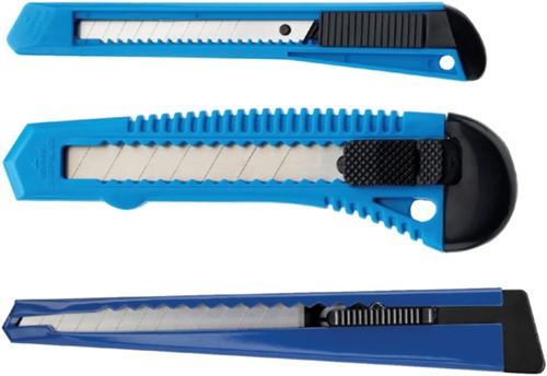 Snijmes Westcott Office 9mm met metalen houder blauw-2