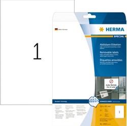 Etiket Herma 10021 210x297mm A4 verwijderbaar wit 25stuks