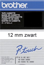 Labeltape Brother P-touch TC-201 12mm zwart op wit