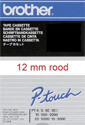 Labeltape Brother P-touch TC202 12mm rood op wit