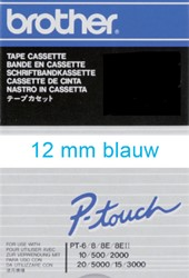 Labeltape Brother P-touch TC203 12mm blauw op wit