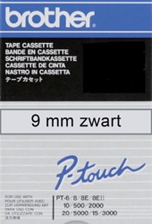 Labeltape Brother P-touch TCM91 9mm zwart op transparant