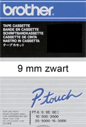 Labeltape Brother P-touch TC-291 9mm zwart op wit