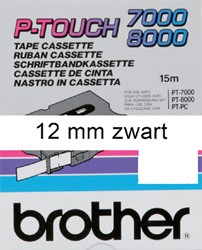 Labeltape Brother P-touch TX231 12mm zwart op wit