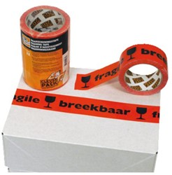 Verpakkingstape CleverPack breekbaar 50mmx66m oranje/zwart