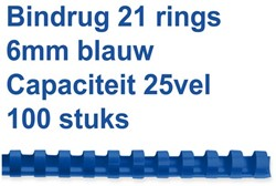 Bindrug Fellowes 6mm 21rings A4 blauw 100stuks