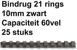 Bindrug GBC 10mm 21rings A4 zwart 25stuks