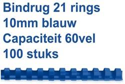 Bindrug GBC 10mm 21rings A4 blauw 100stuks