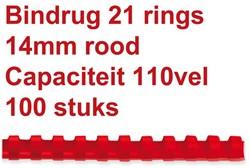 Bindrug Fellowes 14mm 21rings A4 rood 100stuks