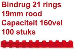 Bindrug GBC 19mm 21rings A4 rood 100stuks