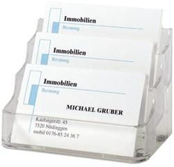 Visitekaartenbak Sigel VA130 met 3 vakken transparant
