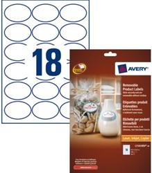 Etiket Avery L7101REV-20 63.5x42.3Mm afneembaar wit 360stuks