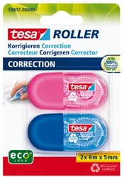 Correctieroller Tesa Mini roze en blauw 2stuks op blister