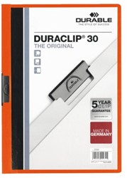 Klemmap Durable Duraclip A4 3mm 30 vellen oranje