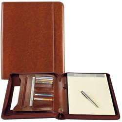 Schrijfmap Brepols A4 Palermo luxe  met rits en blok bruin