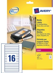 Etiket Avery L7674-25 145x17mm video rugzijde 400stuks