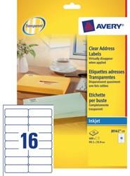 Etiket Avery J8562-25 99.1x33.9mm transparant 400stuks