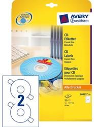 Etiket Avery L6015-25 CD wit 50stuks