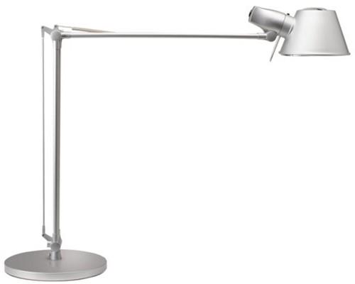 Bureaulamp MAULrock, met spaarlamp en voet zilvergrijs
