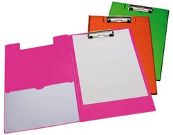 Klembordmap LPC A4/Folio met 100mm klem + penlus neon oranje