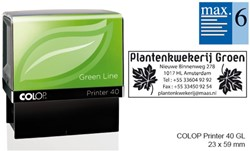 Tekststempel Colop 40 green line+bon 6regels 59x23mm