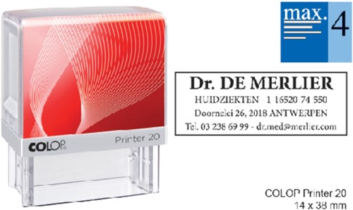 Tekststempel Colop Printer 20 +bon 4regels 38x14mm