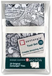 Sakura Zentangle tiles 20 delig wit