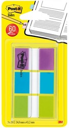 Indextabs 3M Post-it 680PBG 24mmx43.2mm helder blauw/groen en paars