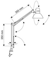 Spaarlamp MAULstudy met spaarlamp en tafelklem zilvergrijs-2