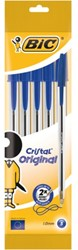 Balpen Bic Cristal medium blauw blister à 5 stuks