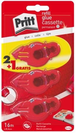 Lijmroller Pritt navulcassette permanent 2+1 gratis blister