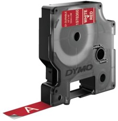 Labeltape Dymo Durable 1978366 12mmx3m wit op rood