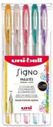 Gelschrijver Uni-ball Signo glitter etui à kleuren