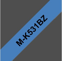 Labeltape Brother P-touch M-K531BZ 12mm zwart op blauw