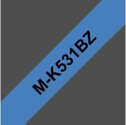 Labeltape Brother P-touch MK-531BZ 12mm zwart op blauw