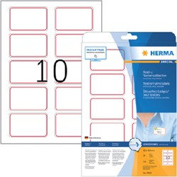 Naambadge etiket Herma 4405 80X50mm wit rood