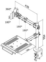"""Laptoparm Newstar D960 10-27"""" met klem zwart-3"""